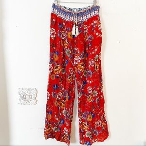 Patrons of Peace Red Floral Boho Pants M